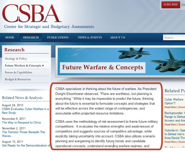 This CSBA topic page is focused on explaining its position