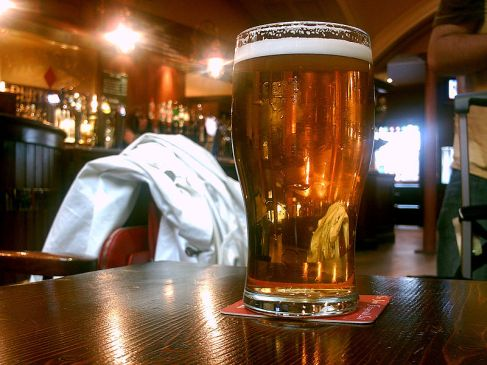 Beer in a pub. Source: Wikimedia