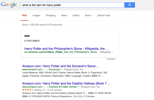 "screenshot of google search results for ""what is the isbn for harry potter"""