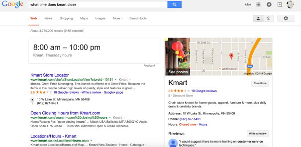 "screenshot of search results for ""what time does kmart close"""